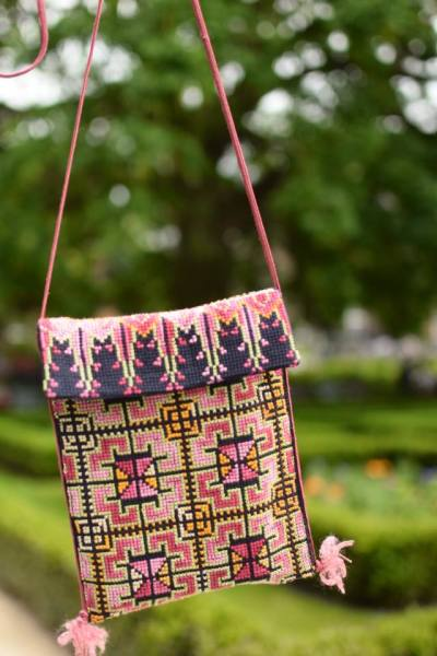 Cross stitch purse made by Syrian women